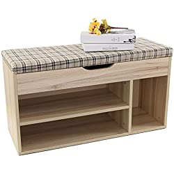 Storage Bench ,Shoe Rack Organizer,Footstool Shoe Ark Unibody Construction,Linen Top Sofa Style 2-Tier & 1-Cube Design for Hall Entryway and Bedroom (plaid)
