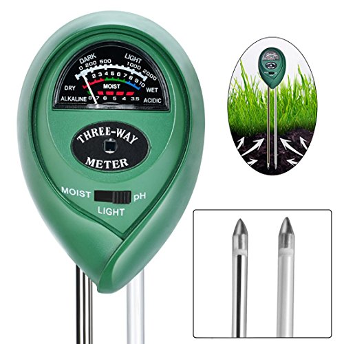 VIVOSUN Soil Tester, 3in1 Plant Moisture Meter Light and PH Tester for Home, Garden, Lawn