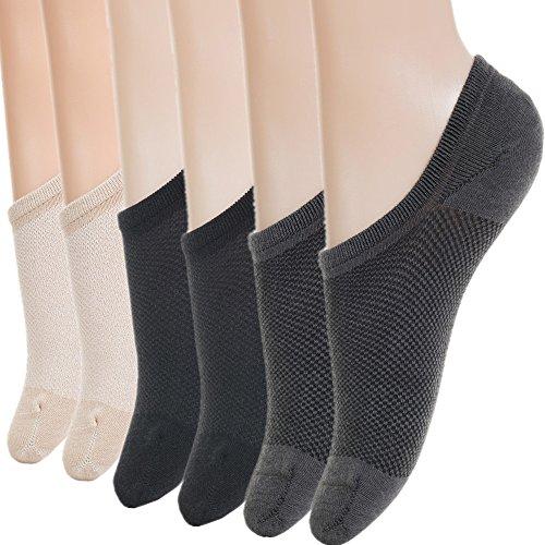 No Show Socks Women Athletic Womens Socks Bamboo Socks Cotton Ankle Socks for Women Gifts Casual Non-Slip Boat Short Low Rise Socks Flat Loafer Socks Liners Footies Pack BW3-Assort M