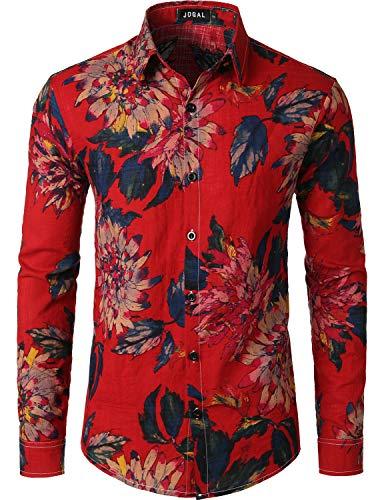 JOGAL Men's Flower Casual Button Down Long Sleeve Hawaiian Shirt Medium A334L Red (Flower Red Shirts)