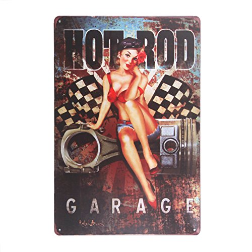 dingleiever DL-Hot Rod Garage Metal Sign Featuring Pin Up Beauty ''Scrap Junky' Hanging Poster ()