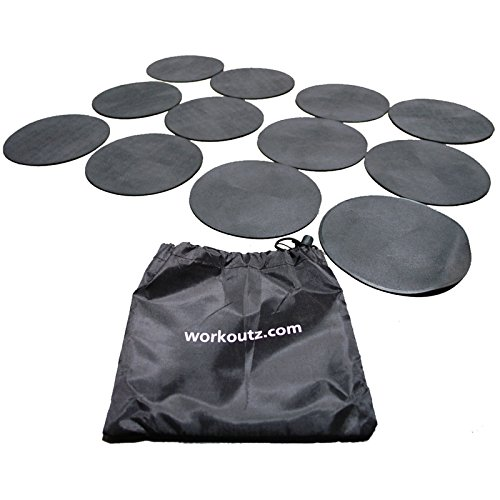 Workoutz Agility Dots (12 Qty, Black) with Drawstring Carrying Bag