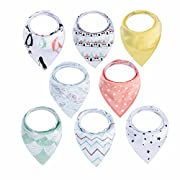 Bandana Bibs for Boys - Carly Shop Unisex 8 Pack Gift Set Bandana Bibs for Drooling and Teething, 100% Organic Cotton, Soft and Super Absorbent, Hypoallergenic Baby Bandana Drool Bibs