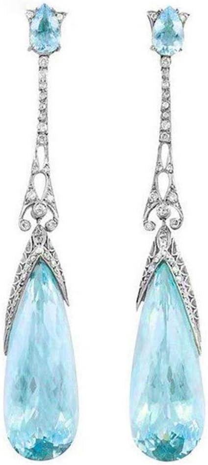 HEKY Chica Pendientes de Cristal Azul Gota Colgante de Las Mujeres Pendientes de la lámpara con Estilo Gota Pendientes joyería de Regalo Pendientes del Partido,A