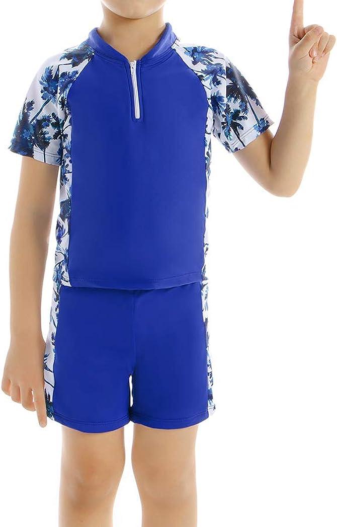 WPNAKS Little Boys 2-Piece Swimsuit Kids Summer Swimwear Slim Trunk and Rash Guard Swim T-Shirts Set