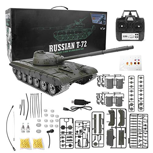 Remote Control Tank, 1:/16 Scale 2.4GHz Russia T72 RC Tank Model USB Charging with Rotating Turret & LED Light & Sound…