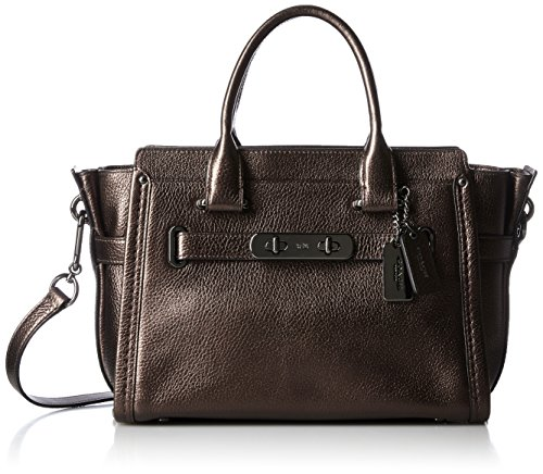 Bronze Pebbled Leather - COACH Women's Pebbled Leather Coach Swagger 27 DK/Bronze Satchel