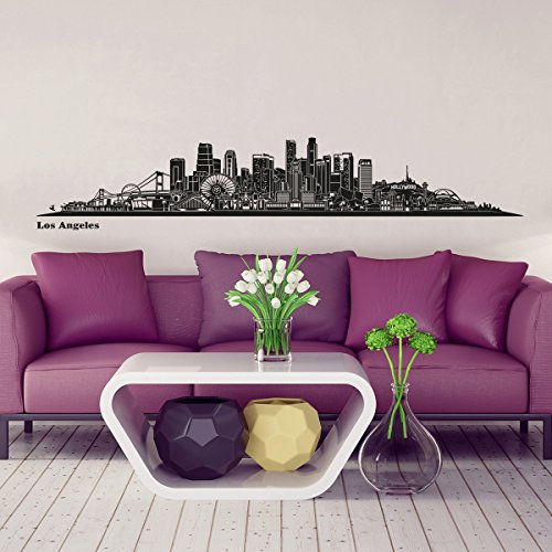 Wandkings® Skyline wall sticker wall decal - 48.8 x 8.3 inch in black - Your city selectable - LOS - Pier Park Miami