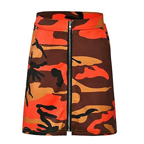 Fathoit Orange Camouflage Jupes Jupe Femmes Moulantes Dames Mini Zipper Sexy Jupe Impression PrxRPwq