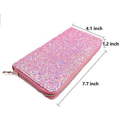 Glitter Purse Pink for Elegant Ladies Holder Wallet Women Shiny Long Clutch Handbag Card RqRBr