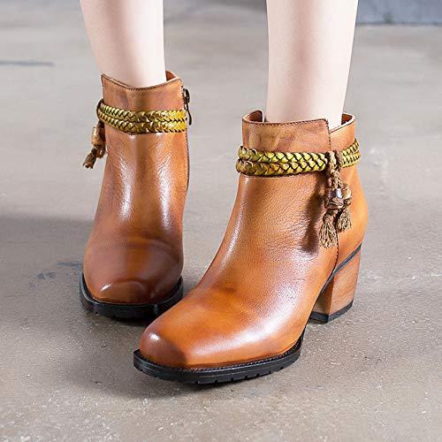 Vintage Vintage 37 Leather Donna da Dimensione ZHRUI Colore Shoes Shoes Woven EU Zipper Marrone Stivali Tassel Marrone wOBnqxZ0