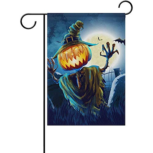 AIRCRY SHOP Art Halloween Night with Moon Cemetery Pumpkin Bat Decor Garden Flag 12 x 18 inch,Fade-Proof