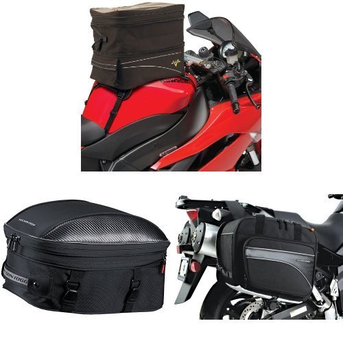 Nelson-Rigg CL-903 Black Expandable Tank/Tail Bag,  CL-1060-ST Black Sport Touring Tail/Seat Pack,  and  (CL-855) Black Touring Adventure Saddlebag Bundle