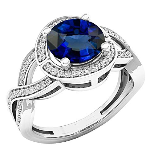 Dazzlingrock Collection 10K 8 MM Round Lab Created Blue Sapphire & White Diamond Engagement Ring, White Gold, Size 4.5