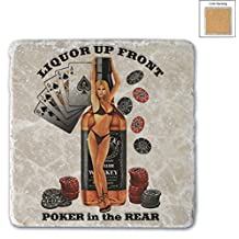 "Set of 2 Poker Card Games Vegas Liquor Up Front Funny Casino 4""Coasters Pack"