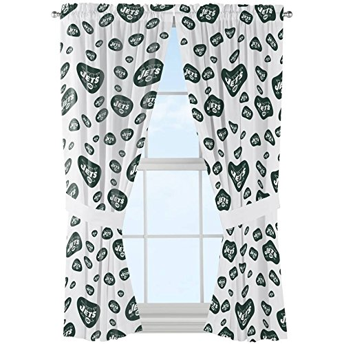2 Piece Green White NFL Jets Window Curtain Set, 63 Inch Football Themed Mascot Window Treatment Panels Pair, Sports Patterned Merchandise Team Logo Athletic Spirit Fan Rod Pocket, (Mascot Jet)