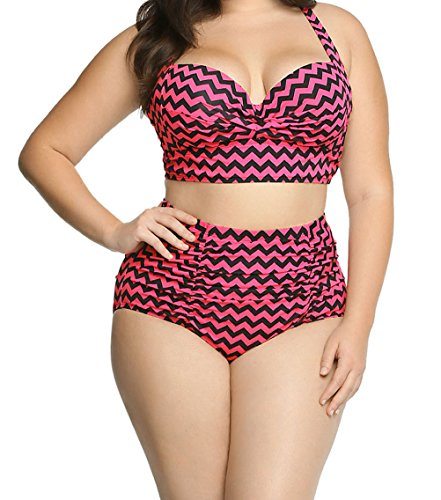 FQHOME Womens Chevron Print Curvy High Waist Bikini Swimsuit Suit Size - Brands Australia Wetsuit