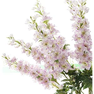 "Skyseen Set of 5 Stems 41"" Artificial Antirrhinum Snapdragon Silk Delphinium Flowers (Purple) 117"