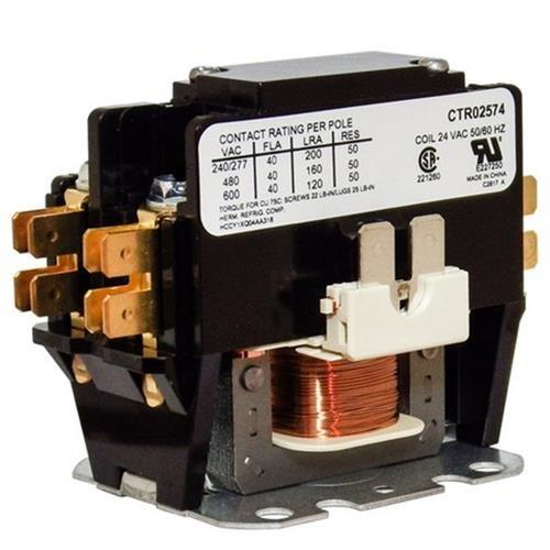 Trane / American Standard OEM Contactor - CTR02574 / CTR-2574 - 40 Amp / 1-Pole / 24V Coil