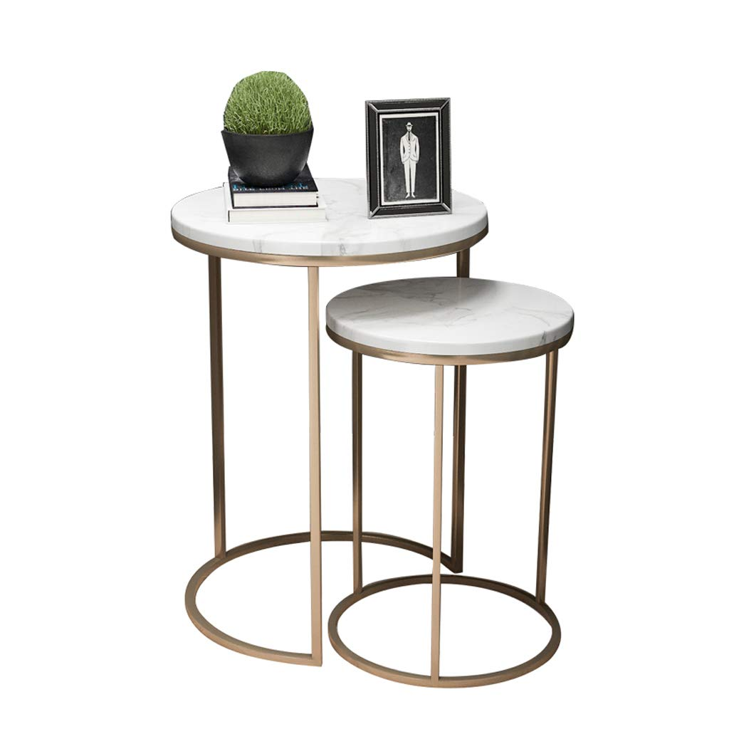 Modern Round Nesting Tables for Living Room Balcony Home and Office, Stacking End Side Table, Set of 2, Faux White Marble/Gold by GSH- Side table