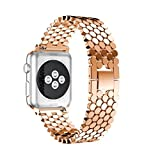 Gotd Stainless Steel Band Strap For Apple Watch Series 3 38MM (Rose Gold)