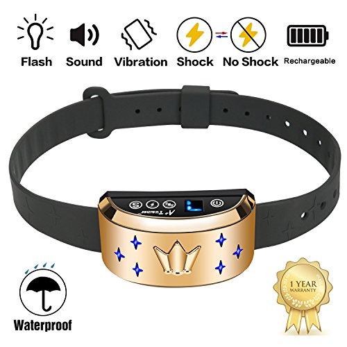 [NEW 2018 MODEL] Rechargeable Bark Collar - SMART Detection Dual Anti-Barking Modes: Flash+Beep+Vibration/Shock for Small, Medium, Large Dogs. 100% Waterproof. No-Bark Training & Control System