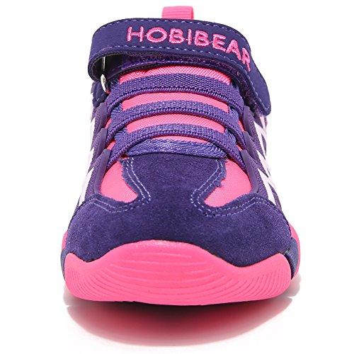 BODATU Boy's Girl's Sneakers Comfortable Running Shoes(Toddler/Little Kid/Big Kid) Fushia/Purple by BODATU (Image #2)