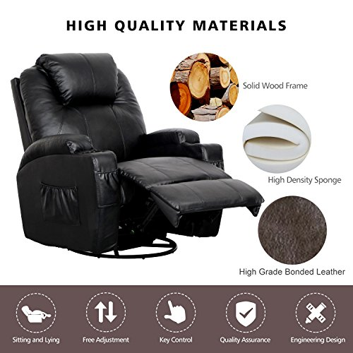 Massage Recliner Chair, 360 Degree Swivel And Heated Recliner Bonded  Leather Sofa Chair With 8