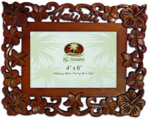 Hawaii Wood Carved Picture Frame 4'' X 6'' by KC Hawaii