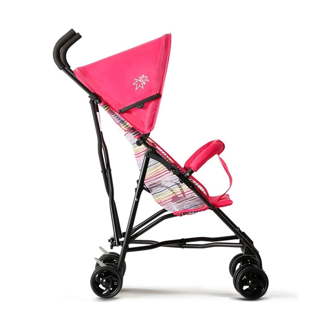 RJJX Home Baby Stroller Ultra Light Portable Stroller One Button Folding Stroller for 8 Months - 5 Years Old Baby (Color : Pink-c) by RJJX Home
