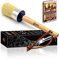 Brietis Premium Chalk Brush, Natural Boar bristles, Smooth Coverage for Furniture Painting, Chalked Paint Brushes, Milk...