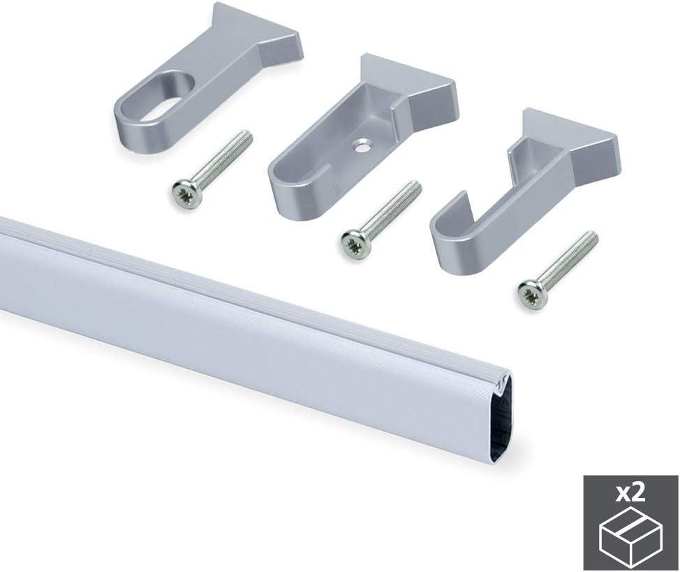 EMUCA Kit de 2 Tubos 30x15mm de Aluminio Largo 950mm y Soportes Silk Armario: Amazon.es: Bricolaje y herramientas