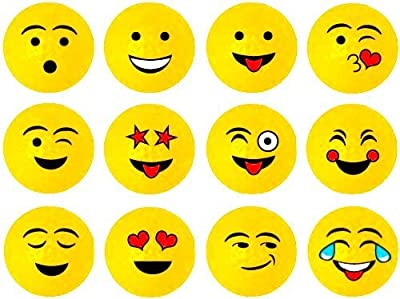 Yellow Emoji Professional Quality High-Visibility Distance Golf Ball Set of 12 for Course Play, Practice, Gifts, and More (One Dozen) by No Worry Sports