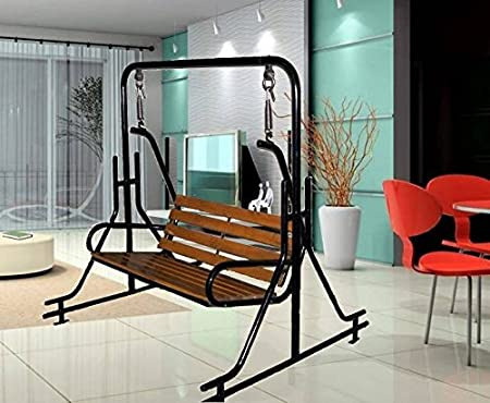 kaushalendra garden zula Teak Wood Swing Chair with Iron Pipe Stand (300kg, Black)