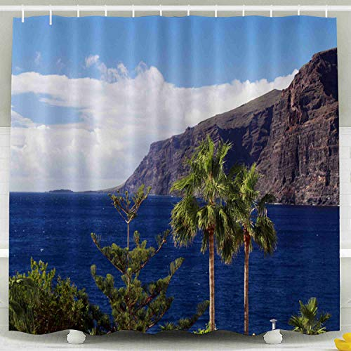 Shorping 78x72 Shower Curtain,Clear Shower Curtain, Scenic Coastline with Palm Trees on Canary Islands at Santa Cruz de Tenerife Waterproof Decor Bathroom Set with Hooks