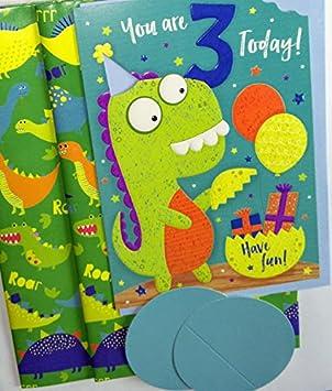 Dinosaur Three Year Old Age 3 Today Birthday Card Bundle With 2