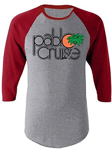 Step Brothers Pablo Cruise Adult Gray and Maroon Raglan T-Shirt (Adult X-Large)