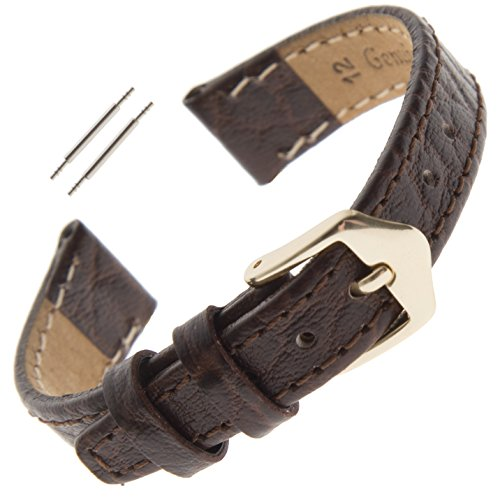 Gilden 10-13mm Ladies Flat Stitched Buffalo-Grain Calfskin Watch Strap FS52L-0212 (12 Millimeter end Width, Long, Brown) (Band Watch Calfskin)