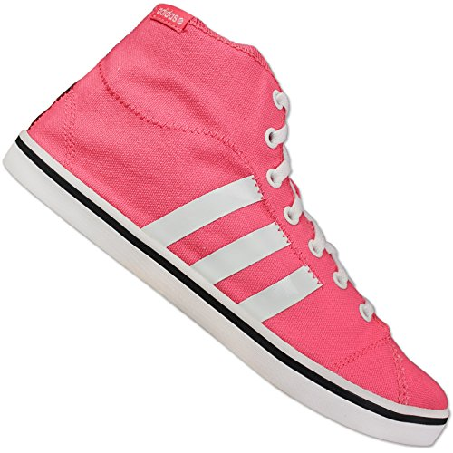 Adidas zapatillas para mujer deporte zapatos Neo para mujer VLNEO BBALL MID W Retro Canvas Trainers Casual Fashion Sports Shoes 3 Stripe Pink/White UK Size 3,5 4,5 5,5 6,5 7,5 NEW G52662 - Pink/White