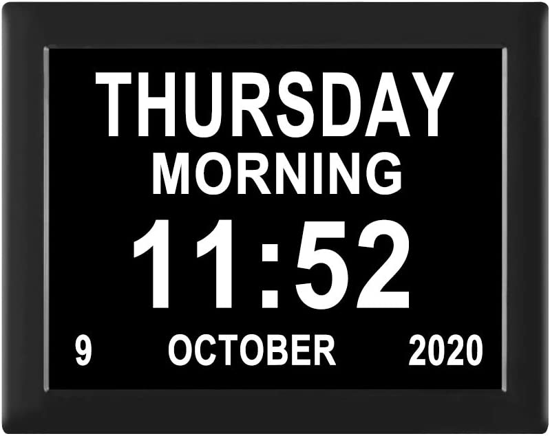 8 Inch 12 Alarm Options Auto-Dimming Extra Large Day Date Time Clocks Digital Calendar Dementia Clock Perfect for Seniors Elderly Alzheimer Vision Impaired /…