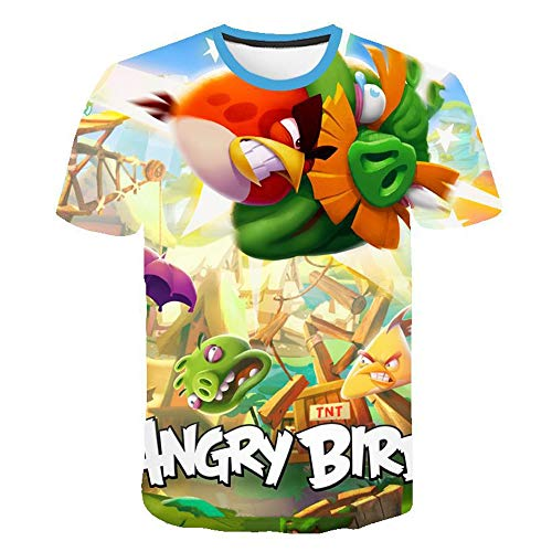 Oxking Kids Child Girls and Boys Unisex Family Comedy Movie Summer 3D Graphic Print T-Shirt Halloween Angry Birds TS3701 Size Kid (11-12)