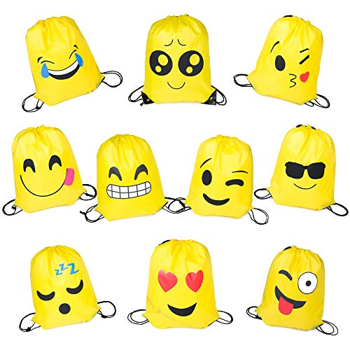 PROLOSO Pack of 10 Emoji Bags Drawstring Backpacks Theme Party Favors Supplies ()