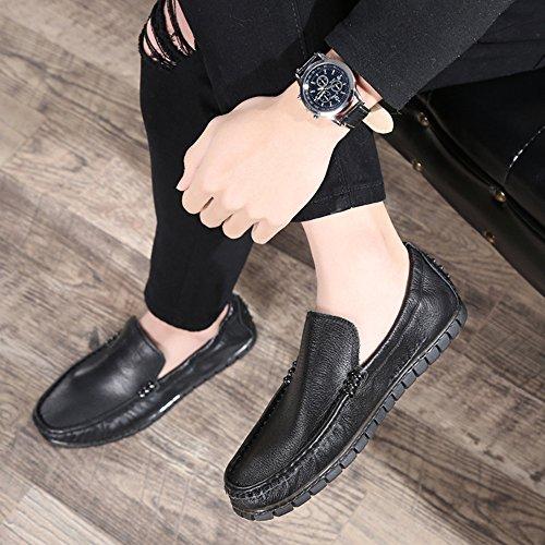 Hombres Plana Guisantes Perezosos De Zapatos Zapatos De Para Moda De Black Remaches Hombre Zapatos Casuales BHPqOI0