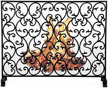 暖炉スクリーン シングルパネル錬鉄製暖炉スクリーン、屋外用安全スパークガードカバー、ソリッドメタルベビーセーフティ暖炉フェンス高さ78cm(ブラック)