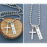 """Men's Cross Necklace – DII - Boys Confirmation Gift – Baptism Gift – Easter Gift Basket - Handstamped Handmade – 1 x 1/4"""", 25.4 6MM Silver Bar – Customized Chain Length – 1 Day Shipping"""