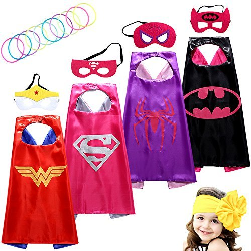 Sholin Superhero Dress up Costumes Girl Cape and Mask Set of 4 with Silicone Glow Bracelets and Headband