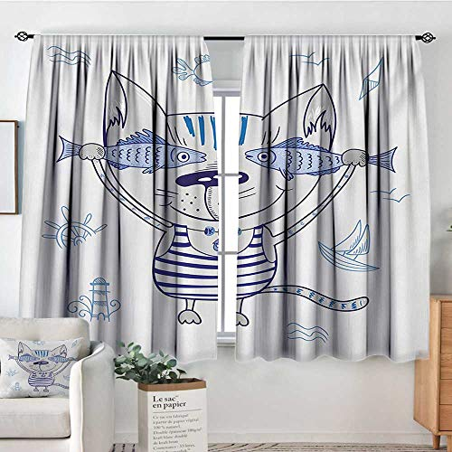 - All of better Fish Patterned Drape for Glass Door Naughty Cat with Fish in Striped T-Shirt Anchor Pendant and Nautical Maritime Sign Blackout Draperies for Bedroom 63