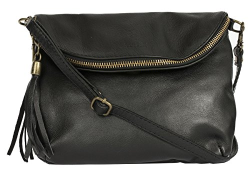 Big Handbag Shop Amy Real Italian Leather Messenger Cross Body Shoulder Bag (Black)