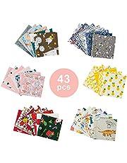 Patchwork stof, GuKKK 43 stuks DIY katoenen stof patchwork pleinen, polykatoen bundel van shabby, vetkwartier katoen stof met bloempatroon materiaal, voor naaien, handwerk (25 cm x 25 cm)