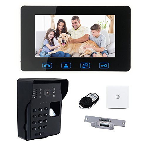 7LCD Fingerprint + Password Access Control Video Door Phone Doorbell Intercom System Kit Night Vision + Wireless Remote Control Unlock